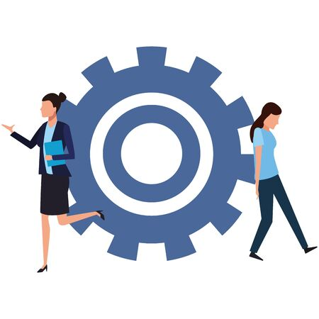 Coworkers businesswoman with big gear and woman stopping gear teamwork cartoon vector illustration graphic design