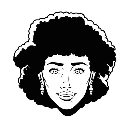 woman head avatar cartoon character face black and white vector illustration graphic design