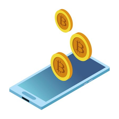 cellphone and cryptocurrency bitcoin icon cartoon vector illustration graphic design Zdjęcie Seryjne - 124992698