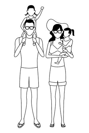 family avatar cartoon character wearing summer clothes sunglasses black and white vector illustration graphic design