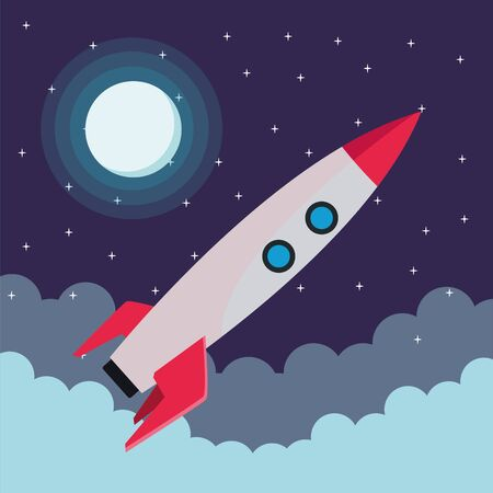 Rocket spaceship cartoon flying in the space vector illustration graphic design Stock Illustratie