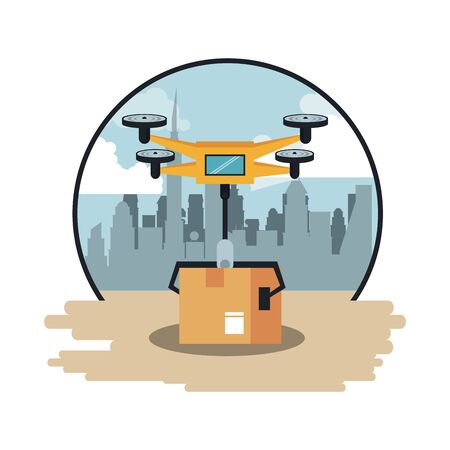 Drone delivering box in the city round emblem scenery vector illustration graphic design