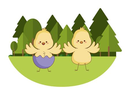 Happy farm animals chicks pair wearing eggshell easter season drawing  on grass with trees scenery vector illustration graphic design Stock Illustratie