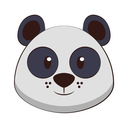 Panda head wildlife cute animal cartoon isolated vector illustration graphic design Çizim