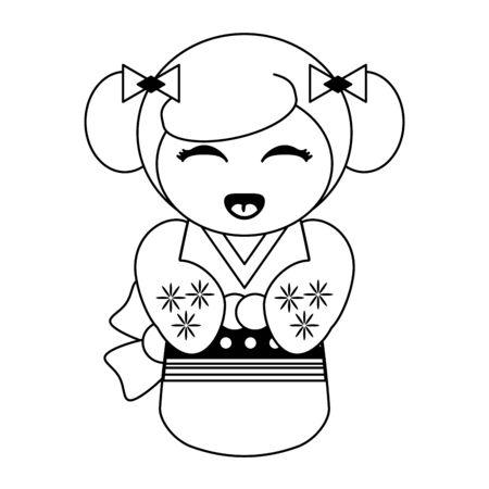 Cute japanese girl with kimono cartoon vector illustration graphic design Иллюстрация