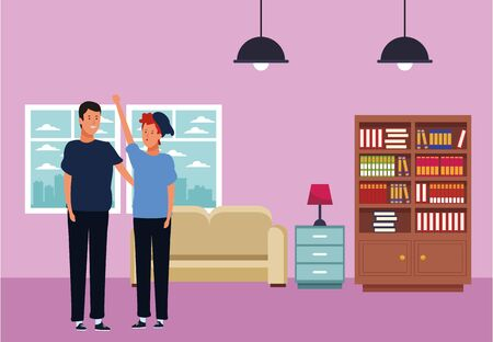 men avatar cartoon character hand up wearing hat and casual clothes  inside home apartment vector illustration graphic design Ilustracja