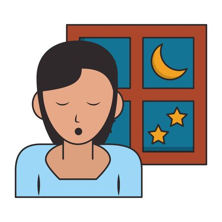 Sleeping and resting woman with eyes closed and window cartoons vector illustration graphic design Ilustração