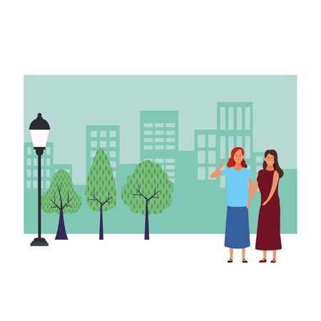 women avatar cartoon character thumb up wearing skirt and dress  over cityscape scenery vector illustration graphic design