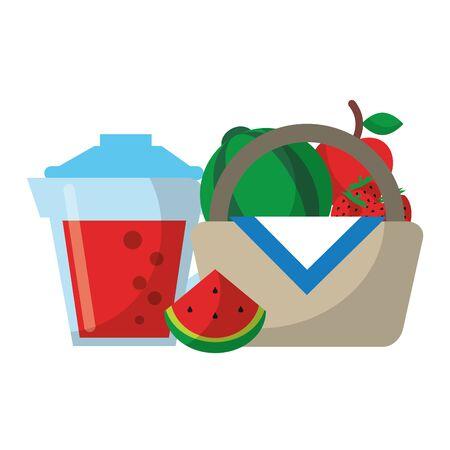 Healthy food cartoons juice and picnic basket vector illustration graphic design Ilustração