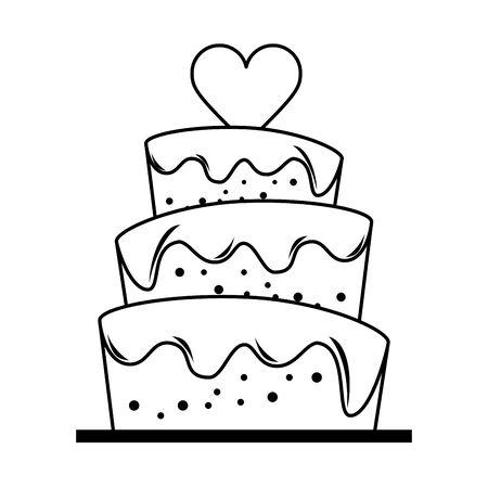 Pastel de bodas con diseño gráfico del ejemplo del vector de la historieta del corazón Ilustración de vector