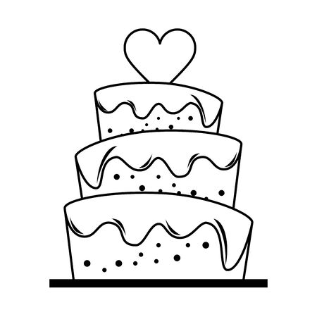 Wedding cake with heart cartoon vector illustration graphic design