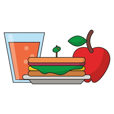 Healthy food cartoons sandwich apple and juice glass vector illustration graphic design