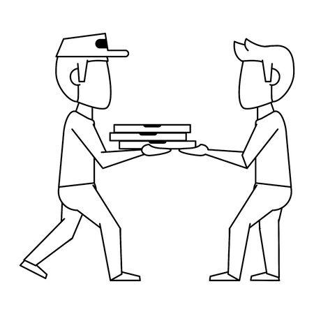 Pizza guy delivering to customer vector illustration graphic design