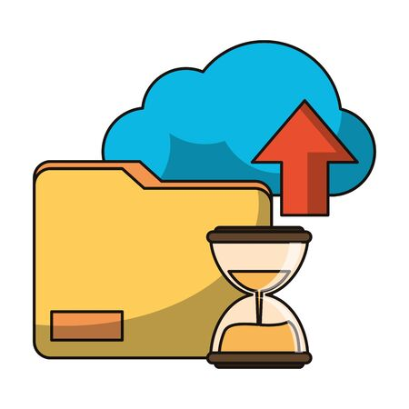 Cloud computing and business technology vector illustration graphic design