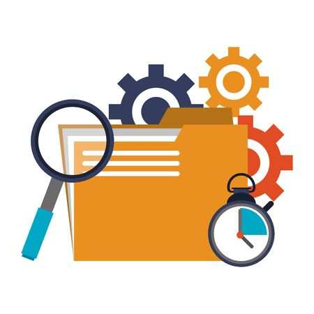business folder with gears and magnifying glass with timer vector illustration graphic design