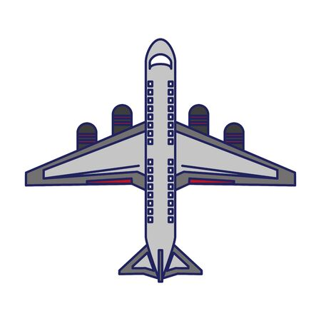 Jet airplane aircraft topview symbol vector illustration graphic design