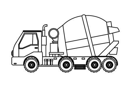Construction vehicle cement truck vector illustration graphic design Ilustrace