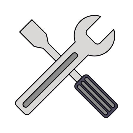 wrench and screwdriver tools icon cartoon vector illustration graphic design