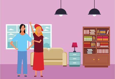 women avatar cartoon character wearing skirt hat  inside home apartment vector illustration graphic design Vectores