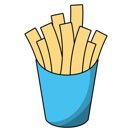 French fries box cartoon vector illustration graphic design