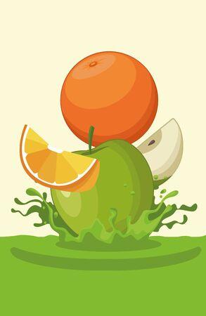 naranja y manzana cayendo para el diseño gráfico del ejemplo del vector de la historieta del icono del batido