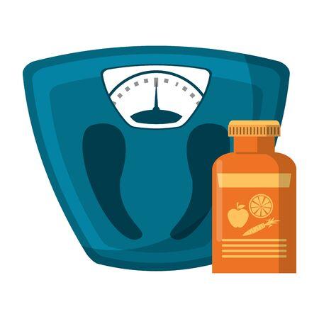 Body scale balance and diet supply bottle vector illustration graphic design Archivio Fotografico - 125024425
