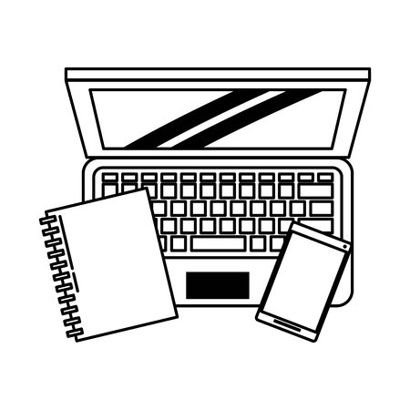 computer with book and cellphone icon cartoon vector illustration graphic design black and white Banque d'images - 125052070