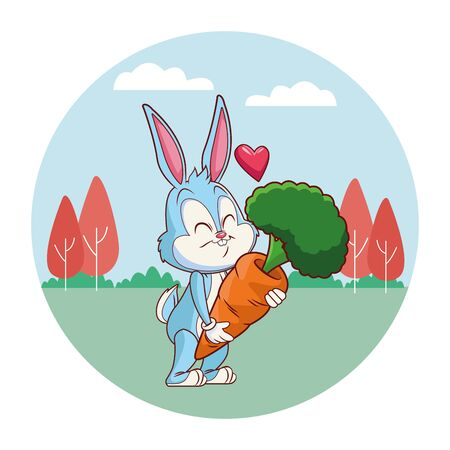 Cute easter bunny celebration with carrot in love heart excited  spring nature background trees vector illustration graphic design