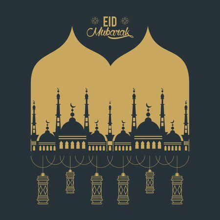 eid mubarak design with mosque silhouette icon cartoon vector illustration graphic design