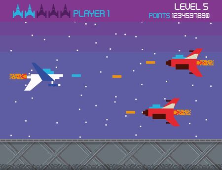 Retro videogame  screen arcade space combat ships shooting background card  vector illustration graphic design  イラスト・ベクター素材