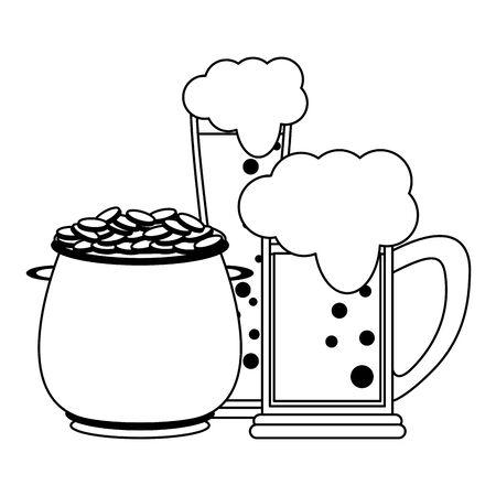 saint patrick day irish celebration pot with golden coins and beer vector illustration graphic design Illustration