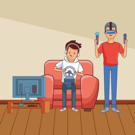 video game scene young men friends playing on couch virtual reallity cartoon  inside home with furniture scenery vector illustration graphic design