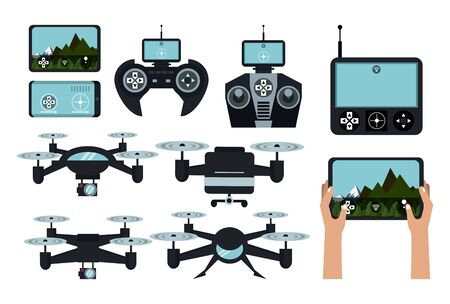 Drones and remote controls set of icons collection vector illustration graphic design Ilustrace