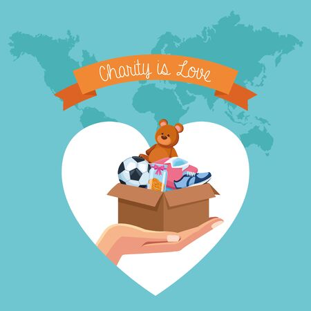 Charity and donation toys clothes money and food cartoons vector illustration graphic design
