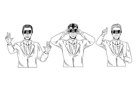 men with virtual reality headset avatar cartoon character black and white vector illustration graphic design