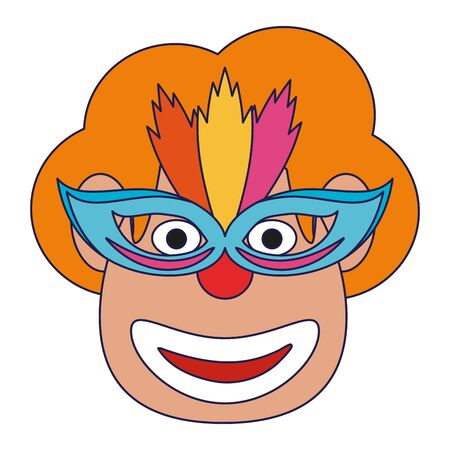 Clown face with mask cartoon Designe Ilustrace