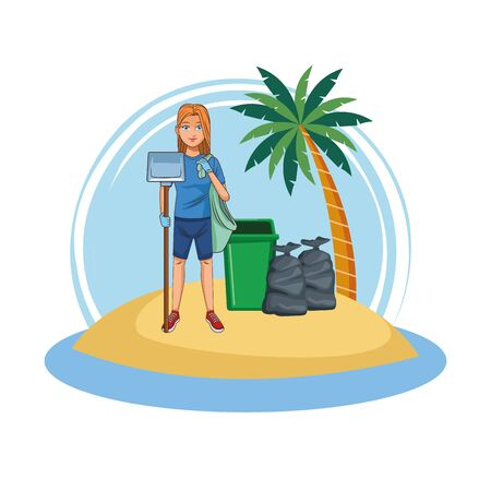 Woman volunteer cleaning beach cartoon isolated vector illustration graphic design