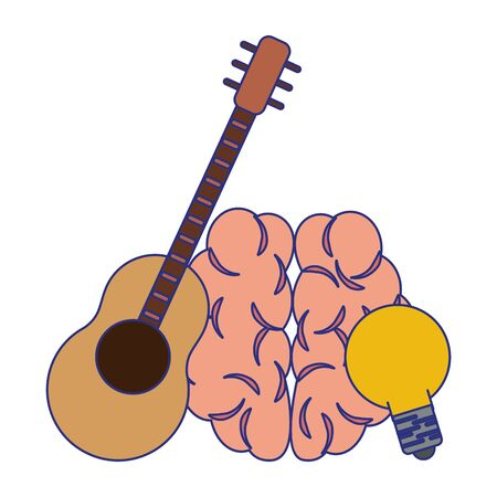 Human brain with guitar and bulb light cartoons vector illustration graphic design