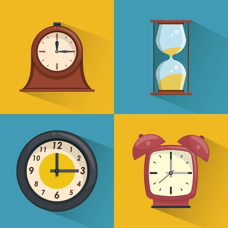 Clocks vintage collection set in colorful square frames vector illustration graphic design
