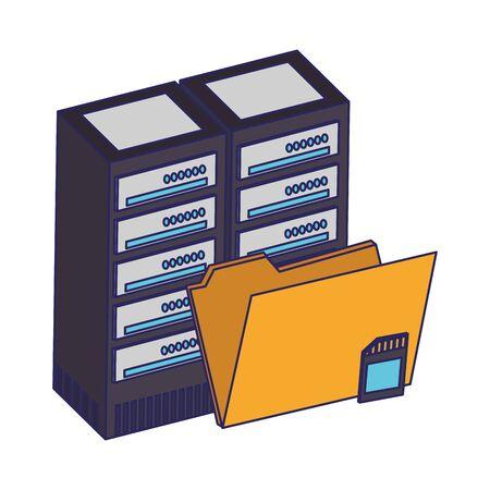 Folder wth micro sd and hard drive vector illustration graphic design