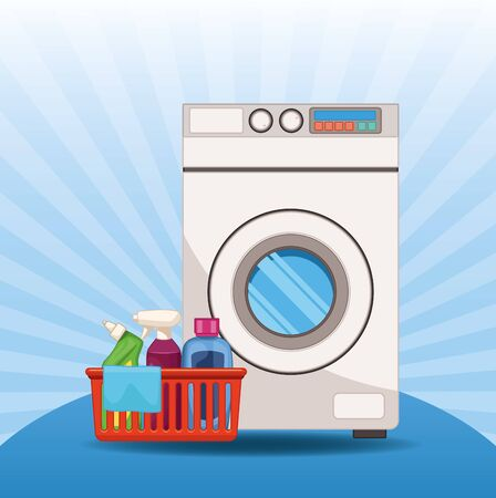House keeping and laundry supplies washing machine with laundry bucket and clean products scene elements cartoon vector illustration graphic design