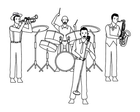 musician playing in a band avatar cartoon character black and white vector illustration graphic design