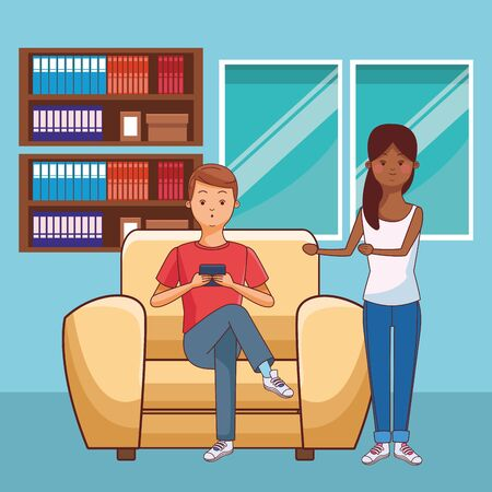 young casual love couple man and woman using technology smartphone device and man sitting at furniture coach in furniture house room scene cartoon vector illustration graphic design