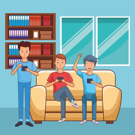 young casual men friends excited using smartphone device sitting at couch in furniture house home room scene cartoon vector illustration graphic design