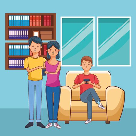 young casual people happy friends using technology smartphone device at furniture house room scene cartoon vector illustration graphic design