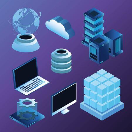 Digital technology blue isometric symbols, laptop monitos server cloud and world hologram. Ilustracja