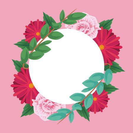Floral round frame blank card vector illustration graphic design Ilustração