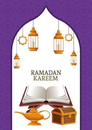 ramadan kareem with koran and chest vector illustration graphic design Vecteurs