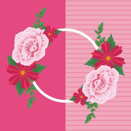 Floral rhombus frame blank card vector illustration graphic design Ilustração