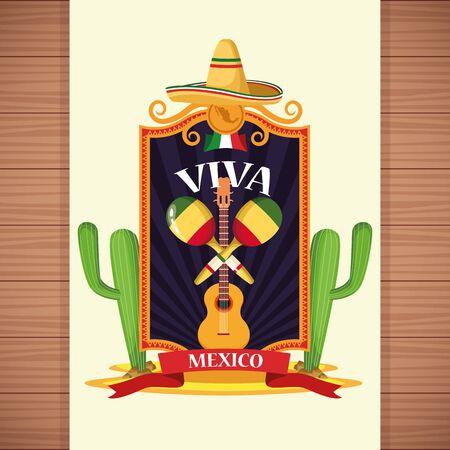 Viva mexico card wooden background desert cartoons vector illustration graphic design